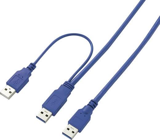 USB Y kábel, A típusú dugóról 2 db A típusú dugóre, 1,5 m, kék