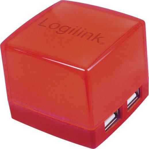 4 portos USB 2.0 Hub, világítós, piros, LogiLink UA0122