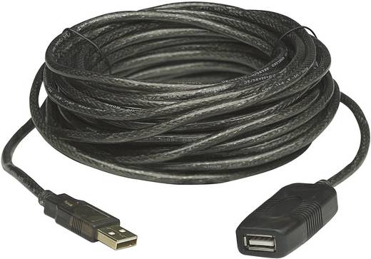 USB 2.0 toldókábel, hosszabbító kábel 20 m, fekete, Manhattan 150958