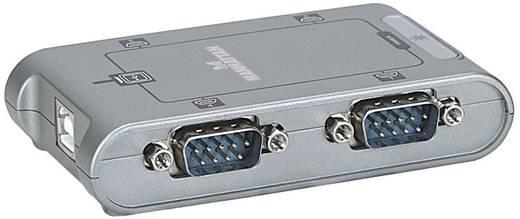 USB - D-SUB soros portos átalakító adapter (4 x D-SUB dugó 9pól. - 1 x USB 2.0 B aljzat) ezüst, Manhattan 151047