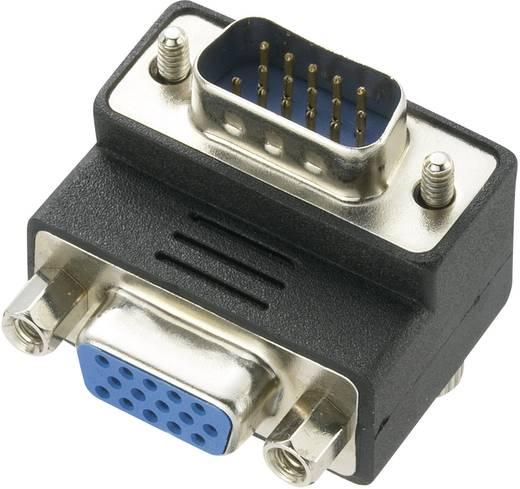 VGA könyök adapter, 1x VGA dugó - 1x VGA aljzat 90°, fekete, Renkforce