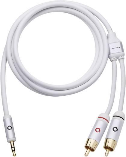 Jack - RCA audio kábel, 1x 3,5 mm jack dugó - 2x RCA dugó, 1,5 m, aranyozott, fehér, Oehlbach i-Connact J-35/R