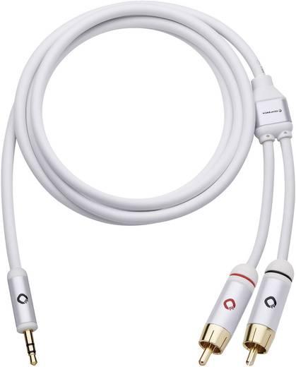 Jack - RCA audio kábel, 1x 3,5 mm jack dugó - 2x RCA dugó, 5 m, aranyozott, fehér, Oehlbach i-Connact J-35/R