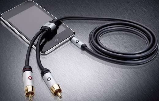 Jack - RCA audio kábel, 1x 3,5 mm jack dugó - 2x RCA dugó, 3 m, aranyozott, fekete, Oehlbach i-Connact J-35/R