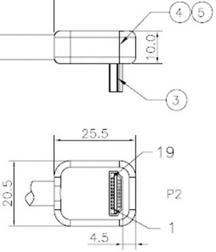 HDMI hosszabbító kábel 90°-os csatlakozó dugóval 0,3m Speaka Professional