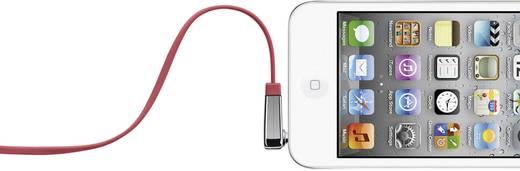 Jack audio kábel, 1x 3,5 mm jack dugó - 1x 3,5 mm jack dugó 90°, 0,9 m, piros, nagyon hajlékony, Belkin 986710