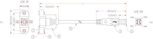 USB kábel rögzítési lehetőséggel, B dugóról B aljra, 1,8 m