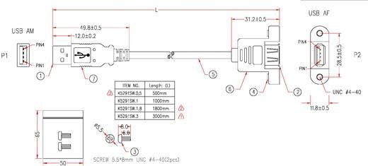 USB 2.0 hosszabbítókábel rögzítési lehetőséggel, A dugóról A aljra, 3 m