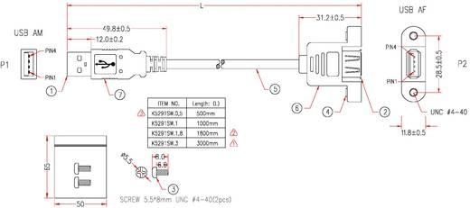 USB kábel rögzítési lehetőséggel, A dugóról A aljra, 1,8 m
