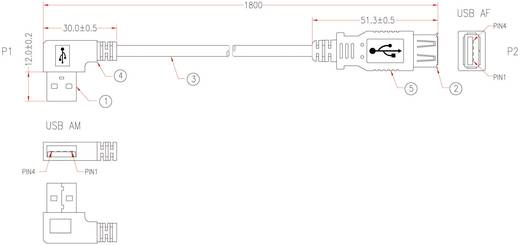 USB 2.0 hosszabbítókábel, A típusú hajlított dugóról A típusú aljra, 1,8 m