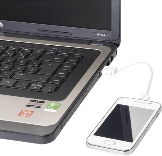 USB adatkábel, töltőkábel, USB mikro 2.0 fehér, 15 cm, lapos kivitel, Akasa
