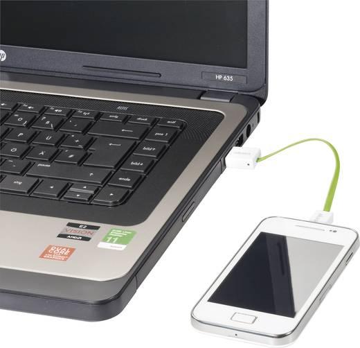 USB adatkábel, töltőkábel, USB mikro 2.0 zöld, 15cm lapos kivitel, Akasa