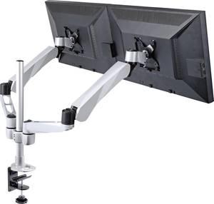 2-szeres monitor tartó, asztalra szerelhető, gáznyomásos technika, Grommet- és C csíptetővel, SpeaKa Professional Flex SpeaKa Professional