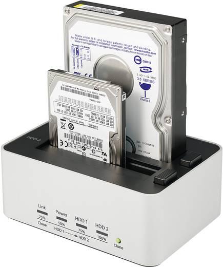 Merevlemez dokkoló állomás klónozó funkcióval USB 3.0 SATA 2 port, renkforce