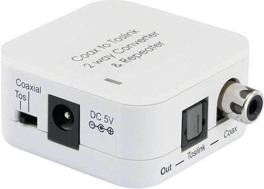 Kétirányú átalakító adapter Toslink (ODT) aljzat/Koax (SPDIF) aljzat, fehér, SpeaKa Professional