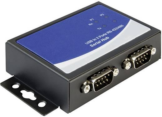 USB 2.0 adapter 2 x D-SUB aljzat 9 pól. - 1 x USB 2.0 aljzat B, fekete Delock