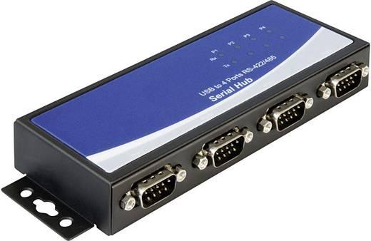 USB 2.0 adapter 4 x D-SUB 9 pól. dugó – 1 x USB 2.0 B, fekete, Delock 87587