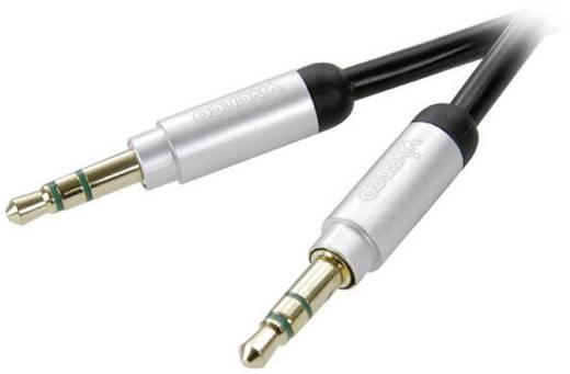 Jack audio kábel [1x jack dugó 3,5 mm - 1x jack dugó 3,5 mm] 0,3 m, fekete aranyozott Vivanco