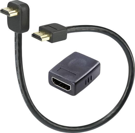 HDMI hosszabbító készlet, dugó/dugó (könyök) kábel, 0,3 m + HDMI közösítő (aljzat/aljzat), Speaka Professional
