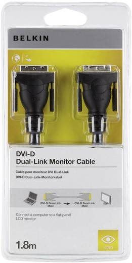 DVI csatlakozókábel [1x DVI dugó 24+1 pólusú 1x DVI dugó 24+1 pólusú] 1.80 m fekete Belkin
