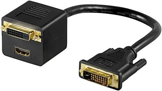 DVI elosztó kábel [1x DVI dugó, 24+1 pólusú - 1x HDMI alj/DVI alj, 24+1 pólusú] 0,15 m, fekete, Goobay
