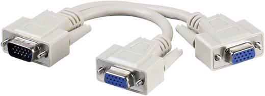 SVGA elosztó kábel, 1x VGA dugó - 2x VGA alj, 0,18 m, fehér, Goobay