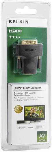 HDMI - DVI átalakító adapter, 1x HDMI aljzat - 1x DVI dugó 24+1 pól., aranyozott, fekete, Belkin