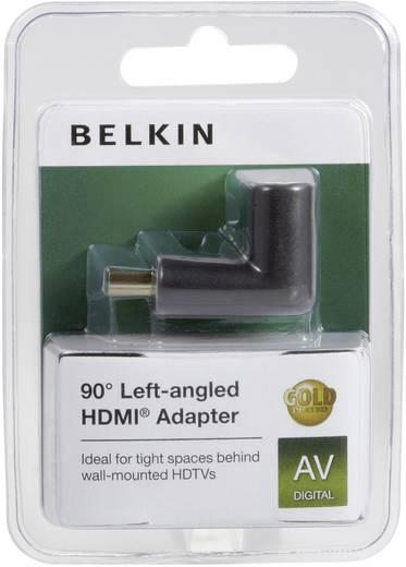 HDMI könyök adapter, 1x HDMI dugó - 1x HDMI aljzat 90°, aranyozott, fekete, bal, Belkin