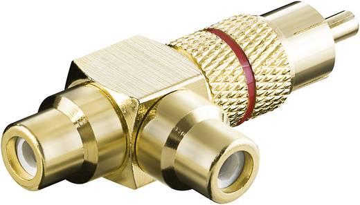 Hajlított RCA dugó, dugó/ 2 db hüvely, aranyozott, piros, hajlított
