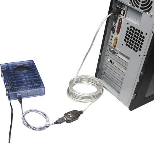USB 2.0 toldókábel, hosszabbító kábel 5 m, átlátszó, Manhattan 519779