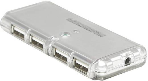 4 portos USB 2.0 hub, ezüst színű Manhattan 160599