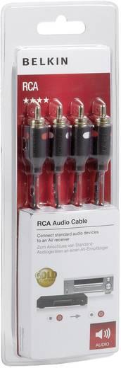 RCA audio kábel, 2x RCA dugó - 2x RCA dugó, 2 m, aranyozott, fekete, Belkin 993731