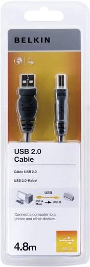 USB kábel, A/B, 4,8 m, fekete, Belkin Pro
