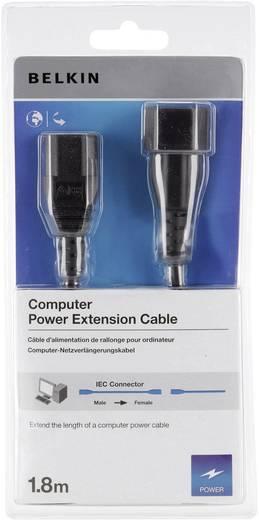 3 pólusú hálózati tápkábel toldó, hosszabbítókábel [C14 dugó - C13 aljzat] 1.8m fekete színű Belkin F3A102cp1.8M