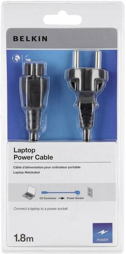 3 pólusú notebook hálózati tápkábel [230V földelt dugó - C6 dugó] 1.8m fekete színű Belkin CC1002R1.8M