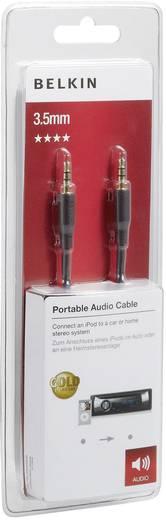 Jack audio kábel, 1x 3,5 mm jack dugó - 1x 3,5 mm jack dugó, 2 m, aranyozott, fekete, Belkin 993913