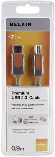USB kábel A/B, 0,9 m, szürke, Belkin Premium
