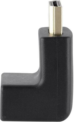 HDMI könyök adapter, 1x HDMI dugó - 1x HDMI aljzat 90°, aranyozott, fekete, jobb, Belkin
