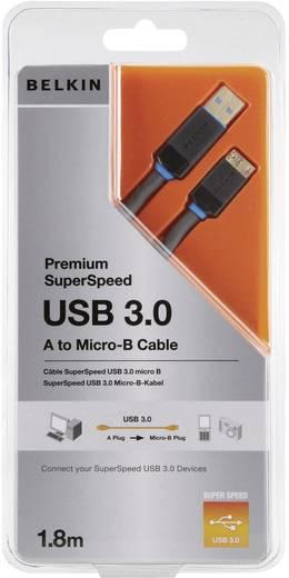 USB kábel 1 x USB 3.0 dugó A – 1 x USB 3.0 mikró dugó B, 1,8 m, fekete, aranyozott, Belkin