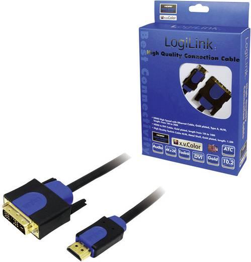 HDMI/DVI kábel, fekete, 3 m, LogiLink CHB3103