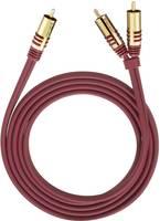 RCA Y elosztó kábel, 1x RCA dugó - 2x RCA dugó, 1 m, aranyozott, piros, Oehlbach Oehlbach