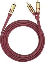 RCA Y elosztó kábel, 1x RCA dugó - 2x RCA dugó, 2 m, aranyozott, piros, Oehlbach Oehlbach