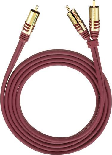 RCA Y kábel, [2x RCA dugó - 1x RCA dugó] 5 m, piros Oehlbach