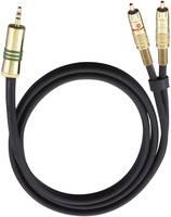 RCA Y elosztó kábel, 1x RCA dugó - 2x RCA dugó, 1 m, aranyozott, fekete, Oehlbach NF 1 Oehlbach