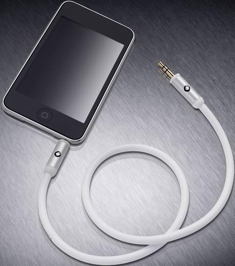 Jack audio kábel, 1x 3,5 mm jack dugó - 1x 3,5 mm jack dugó, 0,5 m, aranyozott, fehér, OFC, Oehlbach i-Connact J-35