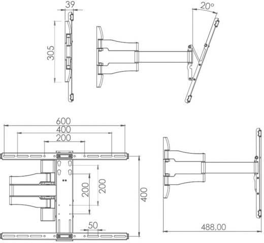 TV fali tartó konzol, kihajtható, forgatható, dönthető VESA szabvány 66 - 140 cm (26 - 55) VCM WS 100 17825