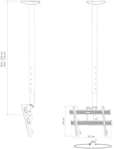 Mennyezeti LCD, TV tartó konzol, forgatható, dönthető 61 - 94 cm (24 - 37) méretig VCM TDH-3 MAXI 17809