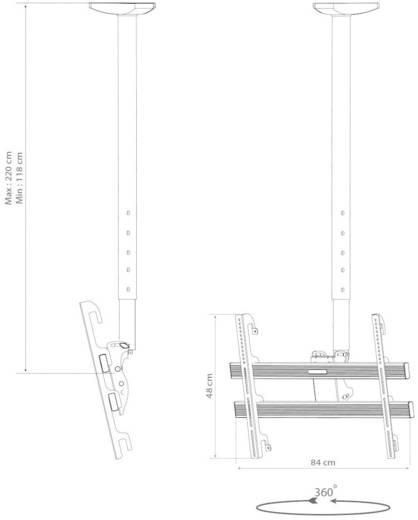 Mennyezeti LCD, TV tartó konzol, forgatható, dönthető 94 - 177 cm (37 - 70) méretig VCM TDH-4 MAXI 17811