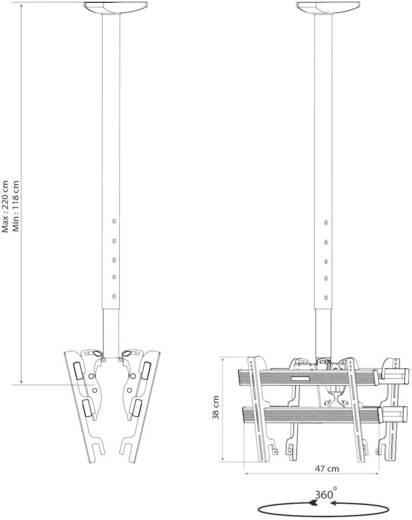 Kettős mennyezeti LCD, TV tartó konzol, forgatható, dönthető 61 - 94 cm (24 - 37) méretig VCM TDH 3 MAXI DOUBLE 17814