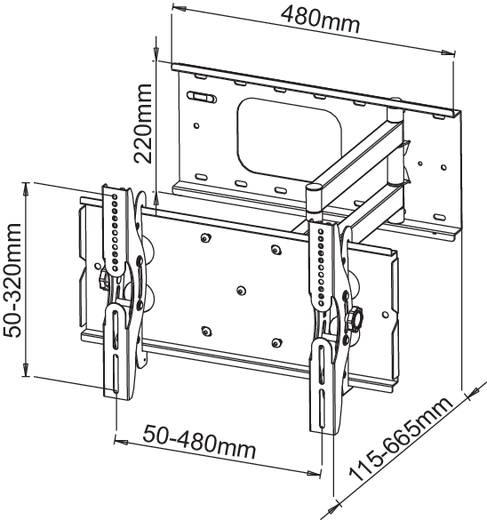 """TV fali tartó konzol, kihajtható, dönthető VESA szabvány 58,4 - 94 cm (23"""" - 37"""") Manhattan 424714"""